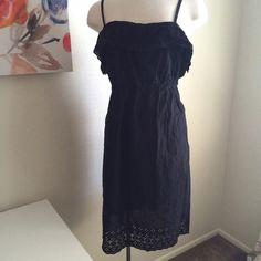 Summery black dress Lightweight and flowy. It has lots of eyelet accents. Adjustable straps. 100% cotton. New with tags. Old Navy Dresses