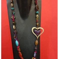 Collar Luma Joyas Multicolor con Corazón Morado C059 A2