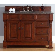 James Martin Furniture 48-Inch Brookfield Warm Cherry (Red) Single Drawer Vanity (48 Brookfield Cherry Vanity Base-Base Only), Size Single Vanities
