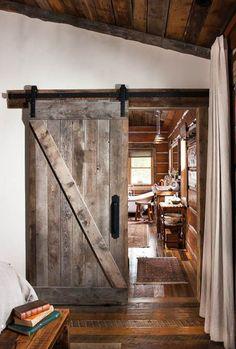 Log Home Interiors, European Home Decor, Log Cabin Homes, Log Cabins, Barn Homes, My Dream Home, House Design, Door Design, Distressed Wood