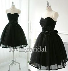 Short Black Chiffon Evening Dress Bridesmaid Dress by lovingbridal, $85.00