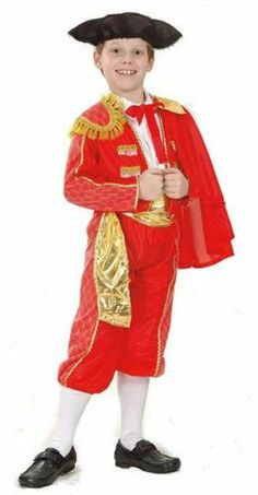 Spanish Matador 5pc Childs Fancy Dress Costume M 134cms by Parties Unwrapped Ltd. $26.99. Great quality and value Spanish Matador 5pc childs fancy dress costume comprising the following: 1. Red jacket with gold trim and cape, which is attached to either side with press studs. The jacket has lace detail down the sleeves. 2. Red elasticated waist trousers with matching lace detail down the sides. 3. White shirt with attached red tie. 4. Gold belt with velcro fasten. 5. Bla...