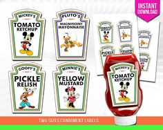Mickey, Minnie, Pluto, Goofy, Heinz Condiment Bottle Labels Party Decoration…