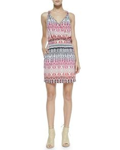Cusp by Neiman Marcus Sleeveless Tapestry-Print Knotted Dress, Pink