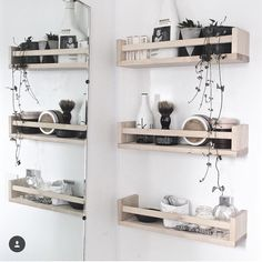 Love how have used our bekvam shelves in the bathroom . So many uses for these babies. Shelves, Interior, Interior Inspiration, Bookshelves, Floating Shelves, Bathroom Shelves, Front Door, Shelving Unit, Home Decor