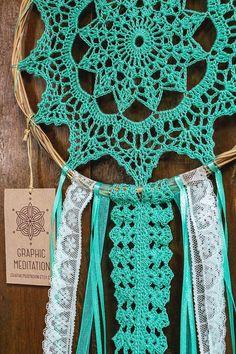 Doily Dreamcatcher 8 Turquoise Crochet Boho by graphicmeditation Crochet Dreamcatcher Pattern, Crochet Mandala Pattern, Doily Patterns, Macrame Patterns, Crochet Doilies, Crochet Patterns, Sun Catchers, Lace Dream Catchers, Dream Catcher Decor