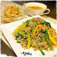 今日は、大好きな韓国料理♡ さっぱり塩味のチャプチェも、美味しい - 132件のもぐもぐ - 塩チャプチェ、もやしのナムル、韓国チゲスープ by ayako1015