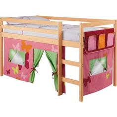 buy mid sleeper bed frame with tent set pine and pink at argosco - Childrens Bed Frames