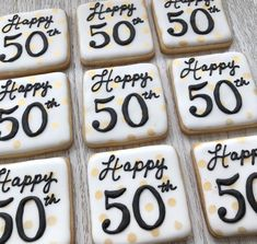Popular Happy Birthday Wine And Cake 46 Ideas Unique 50th Birthday Gifts, Moms 50th Birthday, 50th Birthday Party Decorations, Birthday Mug, Happy Birthday Cookie, Birthday Cookies, Cakepops, 50th Anniversary Cookies, Biscuits