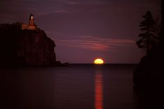 Moonrise at Split Rock by Christopher Franklin on Capture Minnesota // The moon rises as the sun sets on the historic Split Rock Lighthouse