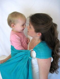 31a849fe2f7 Linen Ring Sling Baby Carrier - decorative stitching - 100% LINEN in Sea  Glass color - DVD included. Etsy