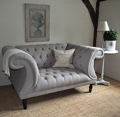 Chesterfield Buttoned Sofa   Grey Button Back Sofa   Home   Pinterest