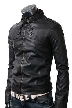 Men Black Leather Jacket front button ,  handmade Men leather jacket with belted collar