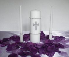 Gemstone Cross Wedding Unity Candle Set with by EliseEvents, $29.99