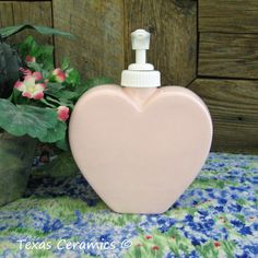 Pink Heart Dispenser Soap or Lotion Pump Bottle Bath Spa Accessory | TexasCeramics - Housewares on ArtFire
