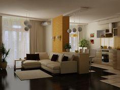 Перепланировка и дизайн однокомнатной квартиры. Гостиная