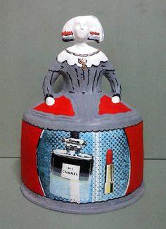 """Menina-Chanel"" Paper Mache, Saatchi Art, Lunch Box, Chanel, Sculpture, The Originals, Wood, Papier Mache, Woodwind Instrument"