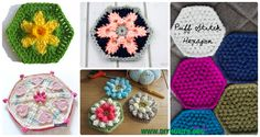 A Collection Crochet Hexagon Motif Free Patterns: Solid Hexagon, African Flower, Daffodil, flower, snowflake, puff, bobble, mandala Hexagons