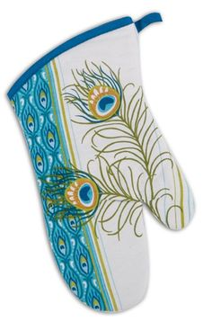 Blue Green Gold Peacock Feathers Cotton Kitchen Oven Mitt 13 Inch Kay Dee #KayDee
