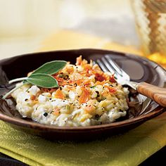 Sage Risotto with Fresh Mozzarella and Prosciutto from Cooking Light