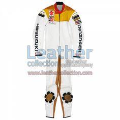 Franco Uncini Suzuki GP 1982 Leather Suit for $719.20 - https://www.leathercollection.com/en-we/franco-uncini-suzuki-leather-suit.html