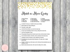 Gold Movie Matching Game Famous Love Quote Movie by BrideandBows