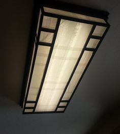 Custom Made Lamp Shade, Fluorescent Lamp Shade by Tree House Labs . Light Fixture Covers, Ceiling Light Covers, Light Fixtures, Bathroom Ceiling Light, Kitchen Ceiling Lights, Kitchen Lighting, Florescent Light Cover, Custom Lamp Shades, Basement Lighting