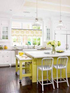 Kitchen w/ high ceiling lime green island w/ hide-a-way cutting board island w/in island
