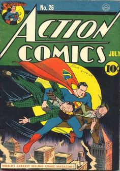 August Action Comic displays what would come to be the iconic pentagonal/diamond design of Superman's logo. Superman Comic Books, Superman Family, Dc Comic Books, Batman And Superman, Comic Book Covers, Comic Book Characters, Comic Character, Comic Art, Superman Stuff