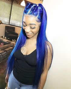 Blue Wigs Lace Frontal Hair New Hair Style Boys Asymmetrical Bob Wig U – xxshoop Frontal Hairstyles, Dope Hairstyles, Weave Hairstyles, Hairstyle Ideas, Wig Styles, Short Hair Styles, Blue Brown Hair, Pelo Afro, Hair Laid