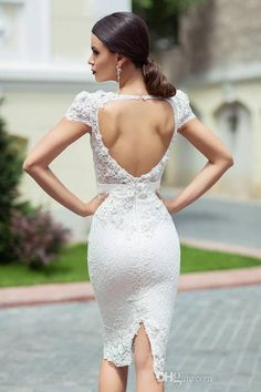Sheath Wedding Dresses 2016 Lace Short Knee Length Capped Bridal Gowns Hollow Crystals Appliques Sexy Wedding Dress Wedding Dresses
