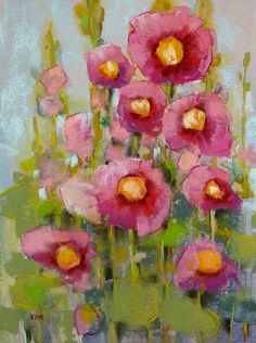 Pink Hollyhocks - Original Pastel Painting by KarenMargulis