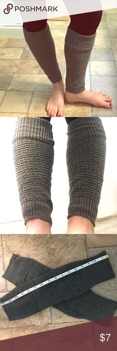 """Cozy Knit Leg Warmers Cozy Gray Leg Warmers. 16"""" long. Can be worn with leggings or under boots with fold over option for a cute look! Accessories"""