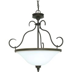 Nuvo 'Bistro' 3-light Rustic Bronze Pendant  @Overstock - The Bistro 3-light pendant offers a relaxed country charm. The rustic bronze finish features hand painted details of dark gold which contrast against the satin white glass shades.http://www.overstock.com/Home-Garden/Nuvo-Bistro-3-light-Rustic-Bronze-Pendant/7492309/product.html?CID=214117 $69.99