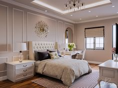 Leng Keng on Behance Bedroom Lamps Design, Girl Bedroom Designs, Modern Bedroom Design, Room Ideas Bedroom, Master Bedroom Design, Bedroom Styles, Home Decor Bedroom, Interior Design Living Room, Bedroom Decor For Couples Romantic