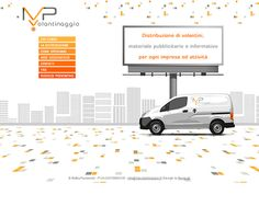MP Volantinaggio, a flyer distribution company based in Italy, uses horizontal scrolling to make it appear as though one of their vehicles is driving through a city, depicting their service in a fun and dynamic way.  This use of horizontal scrolling can be particularly effective for any industry where vehicles or any other forms of transportation play an important role.