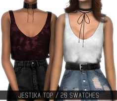 "Simpliciaty - JESTIKA TOP  ""Tucked-in loose tank top""  20 swatches (15 solid colors + 5 patterns); Has morphs; HQ mod compatible(pics taken with it!); Custom Shadow Map; All LOD's;"