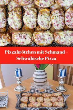 Rezept für Pizzabrötchen mit Schmand - Schwäbische Pizza - Superschnelle überbackenePartybrötchen mit Schinken, Käse und Schmand - für kaltes Buffet und Kinder #pizzabrötchen #partybrötchen #fingerfood