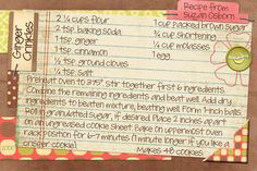 Ginger Crinkle recipe from my friend, Suzan. Recipe card is made digitally using Photoshop Elements.