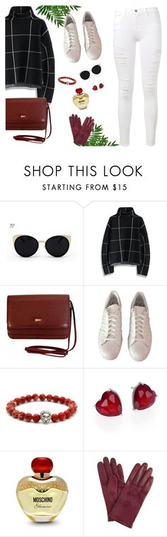 """Your Daily Flatlay no. 15"" by frustrated-designer on Polyvore featuring Una-Home, Chicwish, adidas, Adriana Orsini, Moschino, John Lewis and Frame Denim"