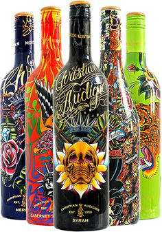 World famous designer Christian Audigier line of wines, champagnes and vodkas | packaging