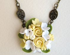 Floral pendant Floral necklace Polymer Clay Jewelry Pendant with Roses White Green Yellow Bridal pendant necklace