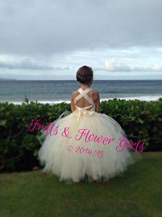 Ivory Lace Halter Tutu Dress Flower Girl by FrillsandFlowerGirl
