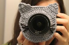 Kitty Camera Buddy Free Crochet Pattern from The Yarn Box. I really want my sister to make me some of these! Maybe elmo and cookie monster!