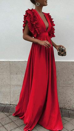 Long Elegant Ruffle Sleeve Cocktail Party Deep V neck Red Dress. 7e216144d8b9