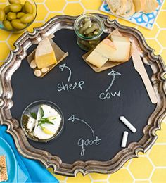 Lowes Idea Exchange   Update a vintage tray with chalkboard paint. Coat the surface and start writing. Use this upcycled tray to identify food, organize home office supplies, or share events with family members.