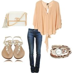 Dark skinny jeans, neutral tunic/top, white jeweled flats or heels, classic handbag, and gold accessories.