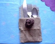 Items similar to Fall Burlap Silverware Holders Leaves & Flowers, Set of 4 on Etsy