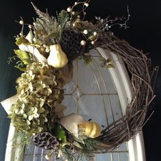 Fall wreath Grapevine Wreath October by angieswreathsandmore, $55.00