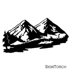 landscape svg cutting files | Mountain Scenery Free Sample Vector Art
